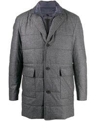 Canali Однобортное Стеганое Пальто - Серый