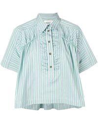 Cedric Charlier Box Fit Striped Shirt - Green