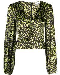 Ganni Bluse mit Tiger-Print - Grün
