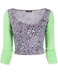Versace Укороченный Топ С Леопардовым Принтом - Пурпурный