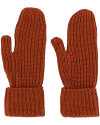 WOOD WOOD Elna Ribbed-knit Gloves - Orange