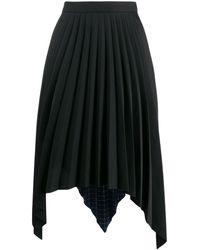 Acne Studios Aライン プリーツスカート - ブラック