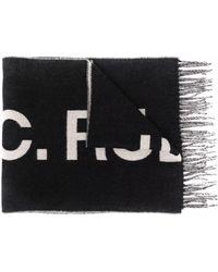 A.P.C. ロゴ フリンジスカーフ - ブラック