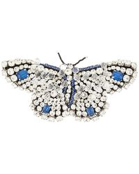 Rochas Crystal Butterfly Brooch - Blue