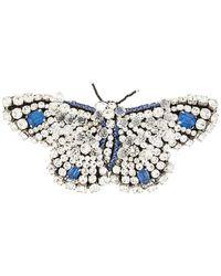 Rochas Crystal Butterfly Brooch - Blue