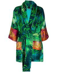 Versace Халат С Поясом И Принтом - Зеленый
