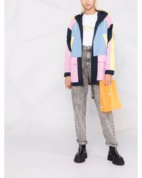 Karl Lagerfeld カラーブロック パーカーコート - ブルー