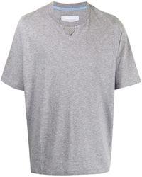 Fumito Ganryu Pull Tab Mélange-effect T-shirt - Grey