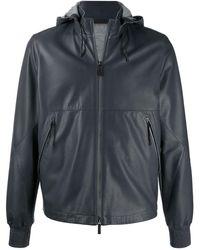 Ermenegildo Zegna Hooded Leather Jacket - Grey