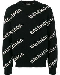 Balenciaga All-over Logo Jumper - Black
