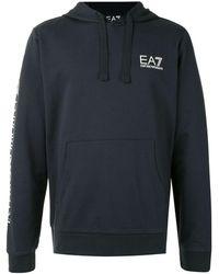 EA7 チェストロゴ パーカー - ブルー