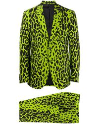 Versace Leopard Single-breasted Suit - Green