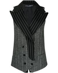 Dolce & Gabbana ストライプ ダブルブレスト ジレ - ブラック