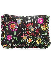 LaDoubleJ Floral Zipped Clutch - Black