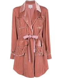Cinq À Sept Velvet Trench Coat - Pink