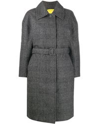 Ienki Ienki Padded Check Belted Coat - Grey