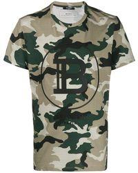 Balmain T-shirt con stampa camouflage - Verde