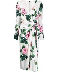 Dolce & Gabbana フローラル ラップドレス - ホワイト
