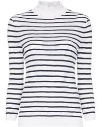 Chloé Turtleneck Striped Cotton Blend Jumper - White