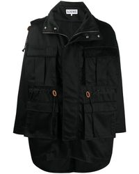 Loewe Abrigo con varios bolsillos - Negro