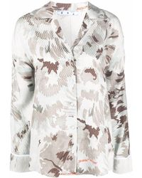 Off-White c/o Virgil Abloh Floral Satin Ls Pajama Shirt Grey Green - グレー