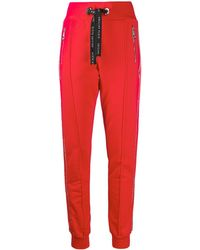 Philipp Plein Crystal-embellished Strip Trackpants - Red