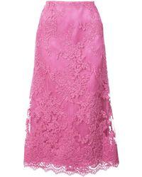 Marchesa レース ミディスカート - ピンク