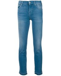 7 For All Mankind - Frayed Hem Cropped Jeans - Lyst