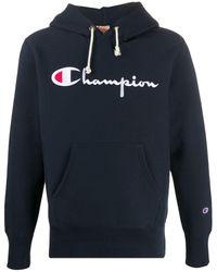 Champion ロゴ パーカー - ブルー