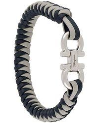Ferragamo Woven-strap Gancini-plaque Bracelet - Blue