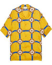 Gucci Camicia da bowling con stampa GG briglie - Giallo