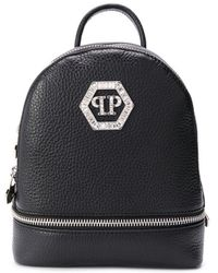 Philipp Plein Zipped Logo Plaque Backpack - Black