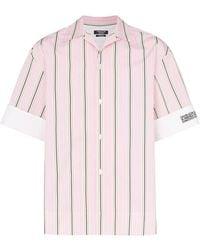 CALVIN KLEIN 205W39NYC Striped Logo-embroidered Cotton Shirt - Pink