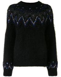 Coohem Fair Isle Textured Sweater - Black