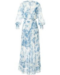 Oscar de la Renta Floral Toile Pintuck Tiered Dress - White