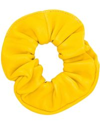 Manokhi Leather Scrunchie - Yellow