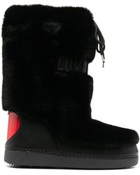 Love Moschino Logo-embossed Faux Fur Snow Boots - White
