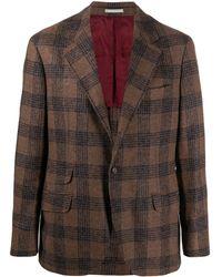 Brunello Cucinelli チェック シングルジャケット - ブラウン