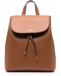 Lauren by Ralph Lauren Embossed Logo Leather Backpack - Brown