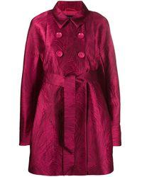 Talbot Runhof Cumarin Jacquard Double-breast Coat - Red