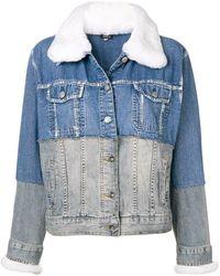 Night Market - Fur Collar Two Tone Denim Jacket - Lyst