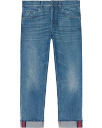 Gucci Tapered Denim Pants With Web - Blue