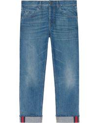 Gucci Jeans aderenti con nastro Web - Blu