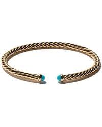 David Yurman 18kt yellow gold Cable Spira turquoise cuff bracelet - Métallisé