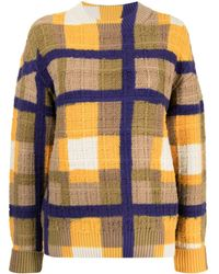 Coohem Check-print Knitted Pullover - Yellow