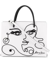 Moschino Cornely Woman's Drawing Tote Bag - White