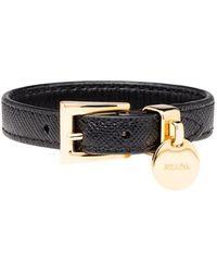 Prada Saffiano Leren Armband - Zwart