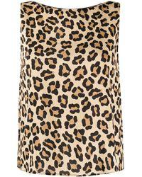 L'Autre Chose Leopard Print Boat Neck Top - Multicolour