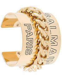 Balmain - Embossed Logo Cuff Bracelet - Lyst