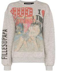 Filles A Papa Wrestling-print Sweatshirt - Gray